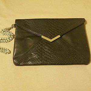 Black leather clutch from Express